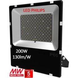 PROJECTEUR LED 200W -130lm/W-DRIVER MEANWELL-LED PHILIPS-5000K°